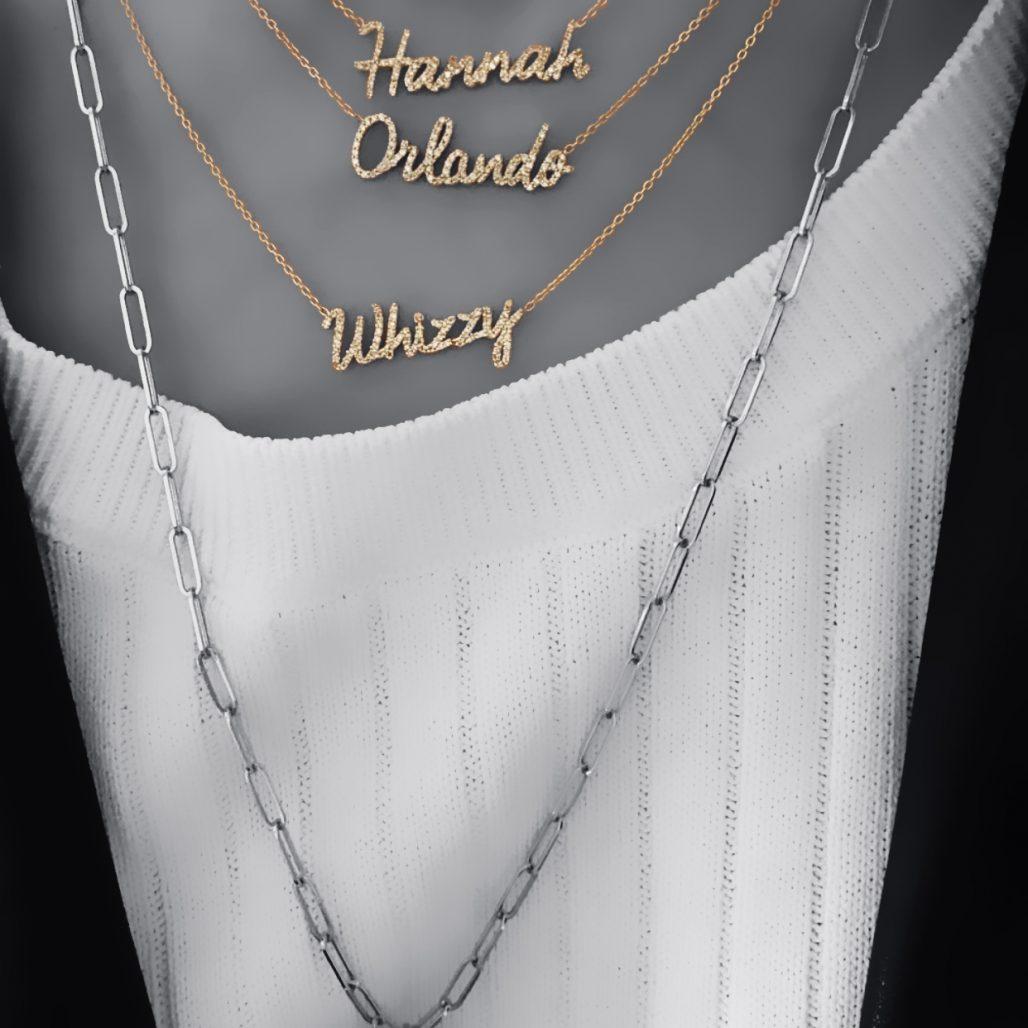 Diamond Script Necklace-paris-filter