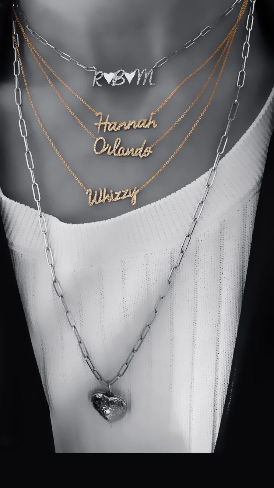 Diamond Script Necklace