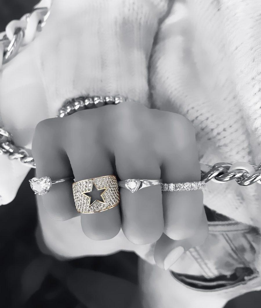 Diamond Open Star Ring