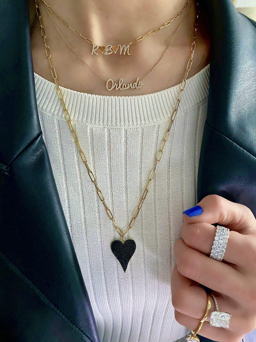 Black Diamond Heart Charm