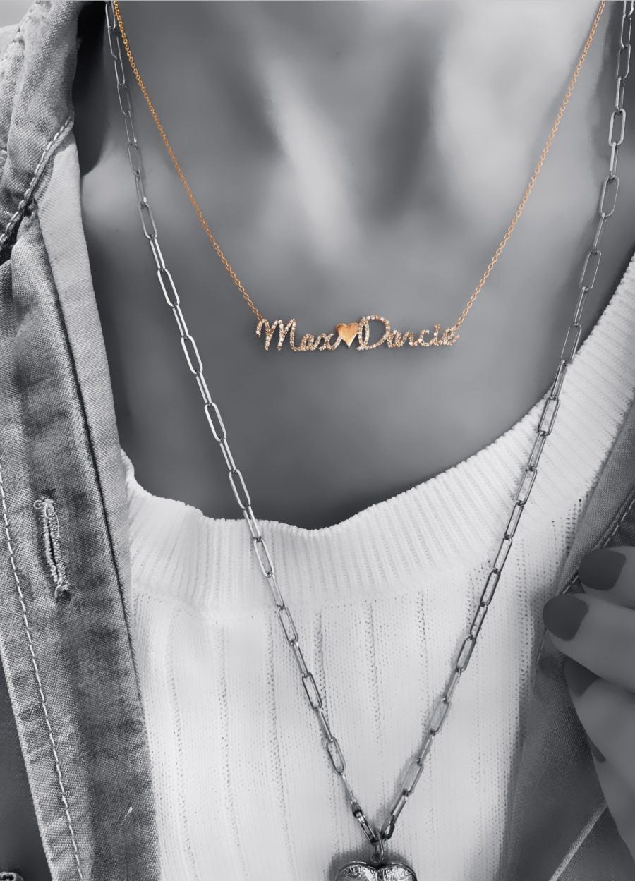 Pave Name and Charm Necklace