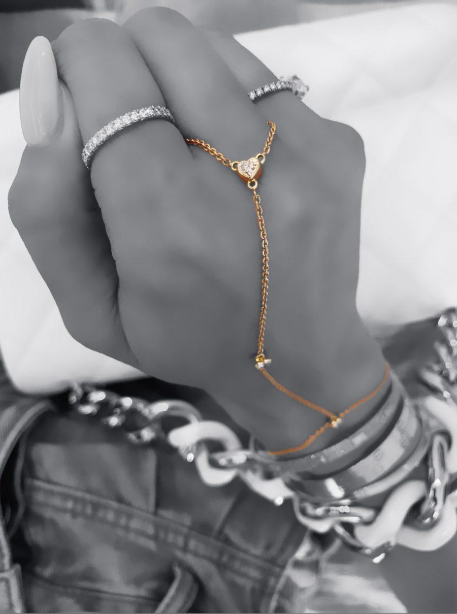 Diamond Heart Hand Chain